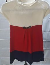 NAUTICA Girls size 8 short sleeves Christmas Sweater Dress Red White ans Blue