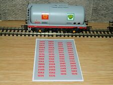Alternative running numbers Decals for Bachmann Grey BP Shell tank TTA wagon