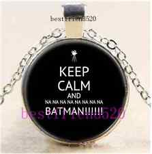 Keep Calm And NA Batman Cabochon Glass Tibet Silver Chain Pendant Necklace