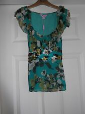 BNWT MONSOON CARMEN JADE SILK TOP BLOUSE  SZ 8 petite  NEW RRP £55
