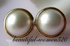 z1968  20mm white south sea mabe pearl earring silver