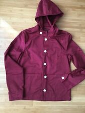 ASOS Men's berry hooded light Summer Jacket with white buttons UK Size Small