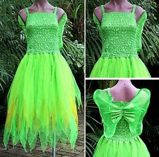 Fairy Dress Party Costume with Wings – WOMEN'S ONE SIZE - Tinkerbell Neon/Gold
