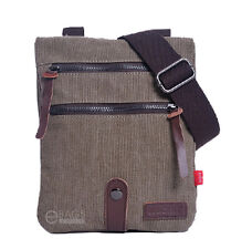 Men's  Canvas Leather Travel Military Messenger Shoulder Hiking Sling Bag Small