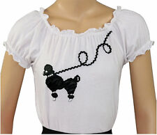New 50s Style White Peasant Blouse with Poodle Applique _ Adult Size SMALL