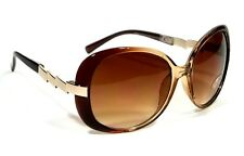 CUTE WOMEN RETRO OVERSIZED VINTAGE ZIGZAG STYLE SUNGLASSES BROWN GOLD FRAME