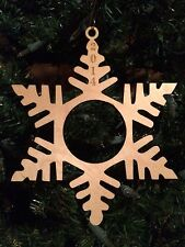 "Christmas Ornament Snowflake Frame with Laser-Etched Year, Wood, 5 1/2"" x 6 1/2"""