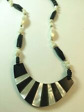 Vintage Mother of Pearl Enamel Wood Beaded Art Deco Style Necklace Black White