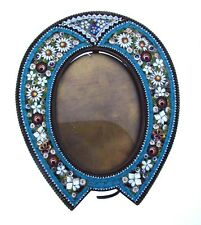 COLLECTIBLE ITALY MICRO MOSAIC COLORFUL UNIQUE PICTURE FRAME MINI OVAL VINTAGE