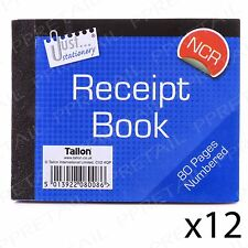 12 PACK Half Size Receipt Book NCR Carbonless 1-80 Page Numbered Duplicate Pad