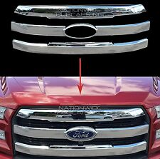 2015-2017 Ford F150 Truck CHROME Snap On Grille Overlay Front Grill 3 Bar Cover