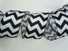 5yd Black White Chevron Wired Ribbon Wedding Pew Shower Birthday Party Decor Bow