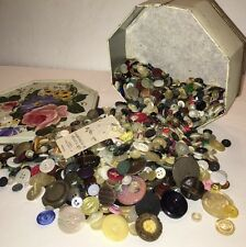 Vintage Lot of Buttons in Vintage Pioneer Can Co., Clifton, NJ Flowered Tin