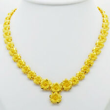Flower  24K Thai Baht Yellow Gold Women Girl Necklace Pendant Choker Snake 2