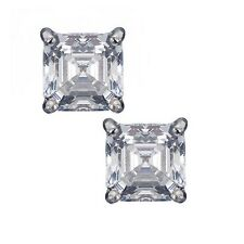925 Sterling Silver 2.50 ct. Square Asscher Cut CZ 6mm Prong Set Stud Earrings