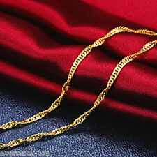 NEW 17.3INCH 24K Yellow Gold Necklace Singapore Link Chain / 2~3G