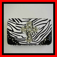 Zebra Cross Bling Concho Black White  WOMEN WALLET PURSE CLUTCH BAG CARD CASE