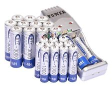 12 AA 3000mAh + 12 AAA 1000mAh Ni-Mh BTY Rechargeable Battery Cell+ USB Charger