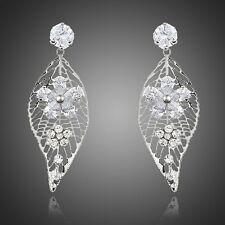 Genuine Clear White Zircon Rhodium Plated Drop Dangle Leaf Design Women Earrings
