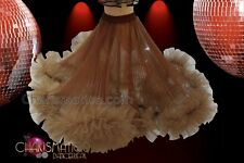 CHARISMATICO Long flowy brown skirt with frills at the hemline