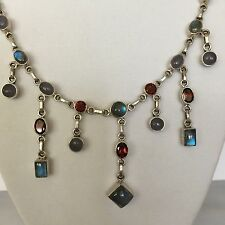HSN Nicky Butler NB Vintage Sterling Silver Moonstone & Garnet Necklace 18""