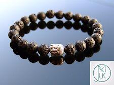 Buddha Lava Stone Natural Gemstone Bracelet Beaded 7-8'' Elasticated Healing