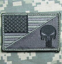 PUNISHER SKULL USA AMERICAN FLAG ARMY MORALE TACTICAL ACU DARK HOOK PATCH