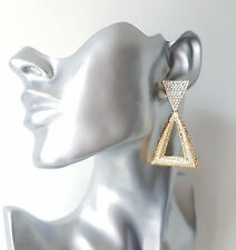 Stunning gold tone & diamante - crystal  triangle - geometric drop earrings #691