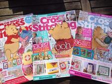 3 x mundo de Cruz Costura Revistas Winnie Pooh, Martín Pescador, Lechón