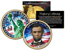 ABRAHAM LINCOLN 2010 Presidential $1 Dollar US Coin COLORIZED Both Sides