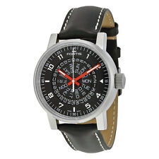 Fortis Spacematic Counterrotation Automatic Black Dial Black LEather Mens Watch