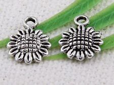 40Pcs Zinc Alloy Flowers Charms Pendants 9x12mm(Lead-free)