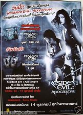 RESIDENT EVIL: APOCALYPSE THAILAND PROMO POSTER -Milla Jovovich, Sienna Guillory