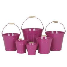 22cm Pink Zinc Bucket/Metal/Tin/Container/Storage/Flower Pot/Planter/Home/Garden