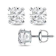 1CT F/I1 Round Cut Genuine Diamonds 14K White Gold Stud Earrings