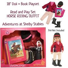"18"" Doll HORSE RIDING Deluxe READ and PLAY SET Book+Clothes Outfit American Girl"