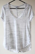 H&M Grey & White Slouch Dip Hem Tshirt Top Size S