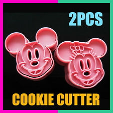 2pcs Mickey/Minnie Fondant Cake Cookie Decorating Sugarcraft Mold Plunger Cutter
