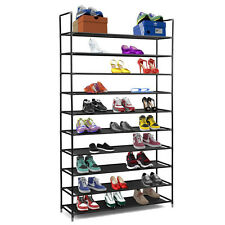 Halter 10 Tier Stainless Steel Shoe Rack / Shoe Storage Stackable Shelves Black