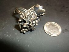 Antique Finger ring bouquet of flowers sterling and twisted ring super