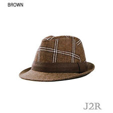 J2R Wool Blended Plaid Checkers Pattern Fedora Color Big Hat Band JRJ070 Brown
