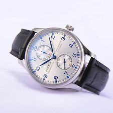 Parnis 43mm SeaGull 2542 Power Reserve Movement Men's Watch