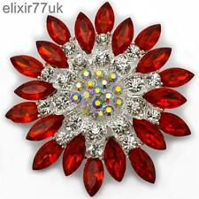 "NEW 2.8"" LARGE SILVER FLOWER BROOCH RED DIAMANTE CRYSTAL BRIDAL PARTY PIN BROACH"