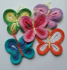 Lot of 10 Crochet butterfly Appliques 5 colors