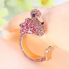 Flamingo Animal Bird Cocktail Ring Pink Austrian Crystal Gold GP Unisex Size 8