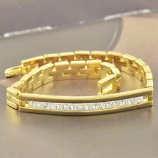 Shiny 9K Gold Filled Cubic Zirconia Mens/Unisex Bracelet,Super Sexy... F3677