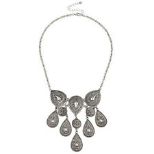 Lux Accessories burnished Silver Boho Casted Statement Waterfall Womens Necklace