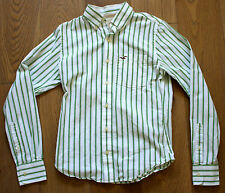 Men's HOLLISTER Long Sleeve Cotton White Green Striped Button Down Shirt - SMALL