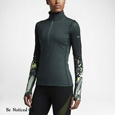 Nike Pro Hyperwarm Half-Zip Women's Training Top L Green Hasta Gym Shirt New