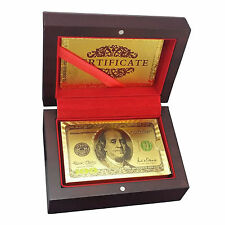 24K Karat Gold Plated Poker Playing Cards with Wooden Box New Model